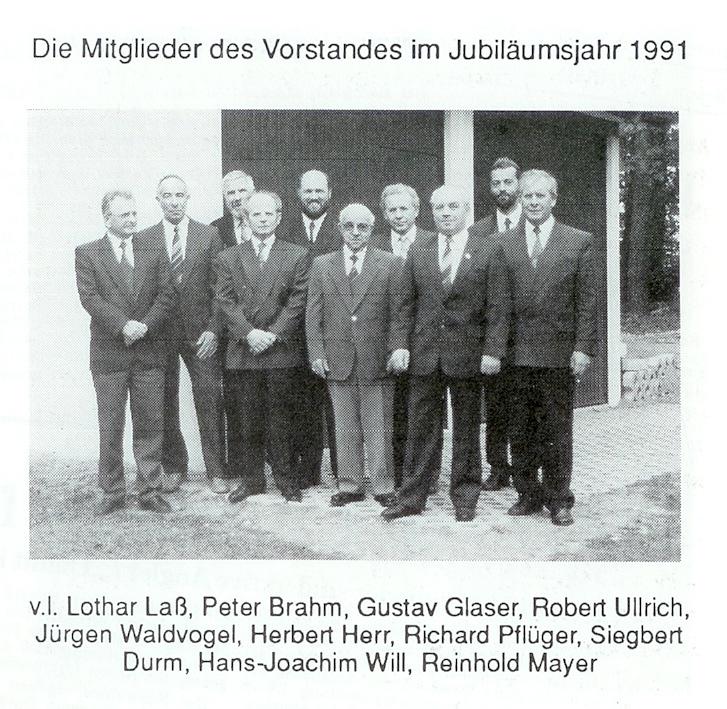Vorstandschaft 1991 beim 25jährigen
